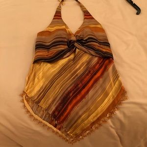 Silk beaded halter top